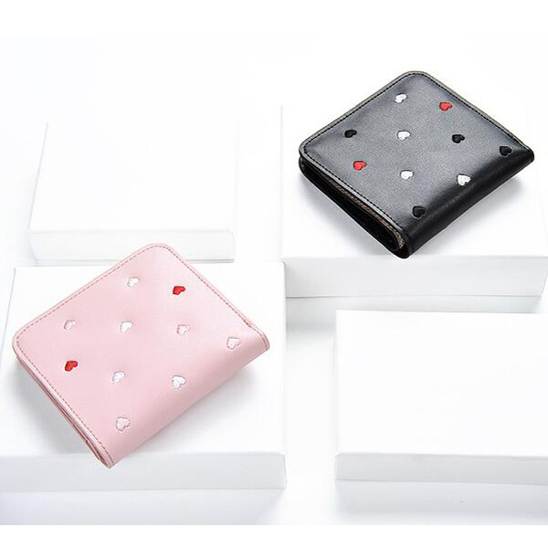 二つ折り 財布 レディース ピンク/ブラック ハート柄 ラウンドファスナー 小銭入れ ミニウォレット コンパクト