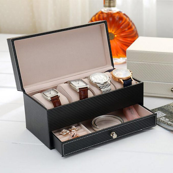 腕時計収納ケース 2段式 ジュエリー収納 アクセサリーケース 男女兼用 ユニセックス高級感 機能的 ピアス ウォッチ リング トラベル 便利グッズ プレゼント