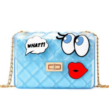 レディース クリアバッグ ブルー ビニールバッグ  クラッチバッグ 可愛い ゴールドチェーン 透明バッグ