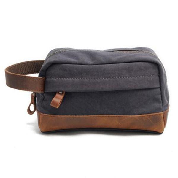 クラッチバッグ グレー メンズ  キャンバス トモウハンドバッグ製作 小物整理バッグ 帆布 トラベルポーチ 軽量 防水加工