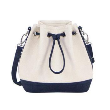 レディース 巾着型 ショルダーバッグ ホワイト トモウオリジナル製作 絞り 通勤 通学 OLバッグ 帆布バッグ