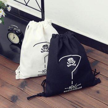 シンプル デザイン 巾着袋 男女通用 不織布 二つカラー 黒 白