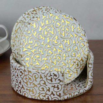 コースター  レザー製 トモウハンドバッグ製作 ファッション 美しいヨーロッパ風 おしゃれ 6枚セット 耐熱 滑り止め ドリンク飲酒 飲茶 (丸型)
