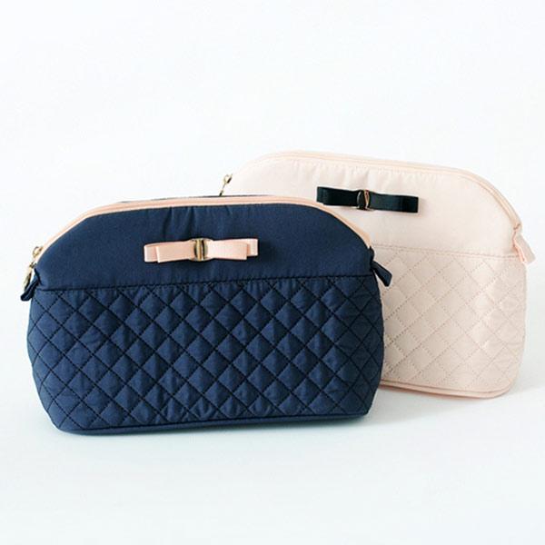 化粧ポーチ ネイビーブルー トモウハンドバッグ製作 小物入れ 収納ポーチ がま口型 レディース リボン付き ミニポーチ