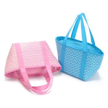 ランチバッグ お弁当袋 保温保冷 断熱 ウォータープルーフブルー/ピンク 大容量 レディース トートバッグ