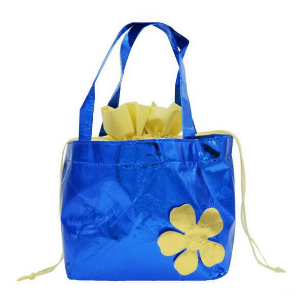 防水 不織布バッグ 巾着袋 ブルー/イエロー/ピンク 手提げ巾着 大容量 メイズ レディース ショッピングバッグ
