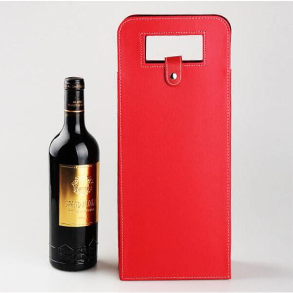 ワインケース レザー 革 赤/ブラック ワインバッグ ハイセンス 持ち運び 手提げ袋 2本入り