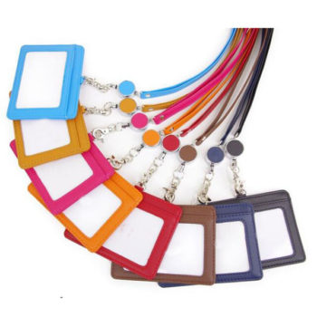 IDカードケース シンプル 多彩なカラー 名刺入れ ストラップ付き 横型 薄型 レディース メンズ