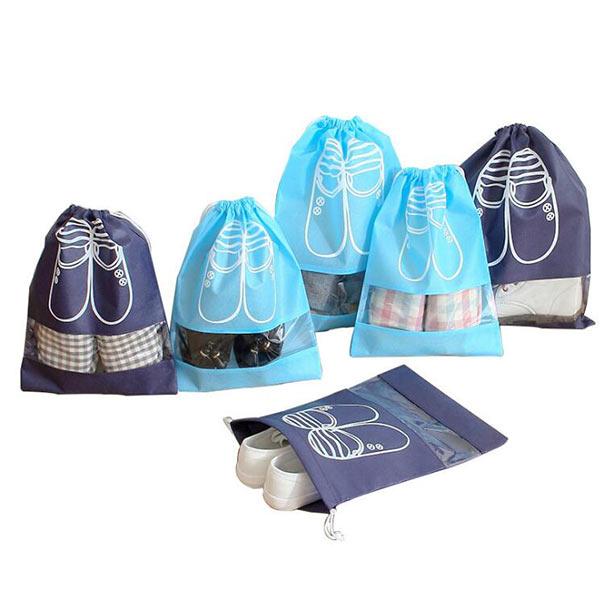 不織布収納巾着 防水 防塵 シューズバッグ 軽量 巾着袋 旅行用収納バッグ 靴収納バッグ 旅行 出張用