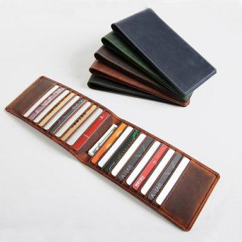 薄型長財布 二つ折り メンズ レディース カードケース 財布 カード20枚収納 牛革 大容量