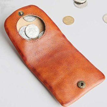 ミニコインケース 小銭入れ 折り畳み可 牛革 コンパックト 大容量 5種色選択可 オリジナル製作対応