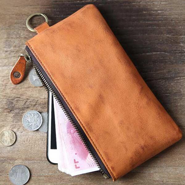 薄型長財布 たっぷりワイド パスポート スマホ 収納可 メンズ 牛革 ブラウン カードボケット付き 小ロット製作対応
