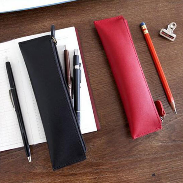 高級 お洒落 OEMペンケース 筆箱 本革 牛革 ファスナー 軽量 薄型 シンプル メンズ レディース オリジナル製作対応