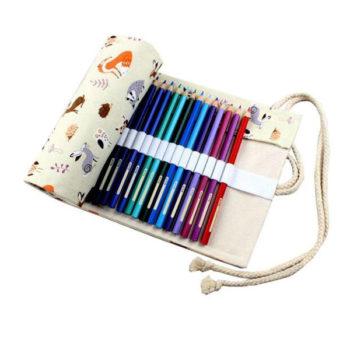 ロールペンケース 色鉛筆ケース 多機能巻き型デッサン用 帆布製 ペン袋 色鉛筆 エスニック 軽量 便利グッズ オリジナル製作対応 小ロット小売り 36スロット