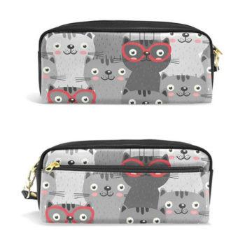可愛いペンケース 多機能バッグ 化粧ポーチ 収納ケース レディース 筆箱  猫 眼鏡 オリジナル小ロット仕入れ製作対応