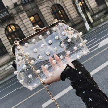 2way ショルダーバッグ 透明 ビニール チェーン付き がま口バッグ  クラッチバッグ 痛バッグ 痛ポーチ レディース OEM販促品小ロット製作対応