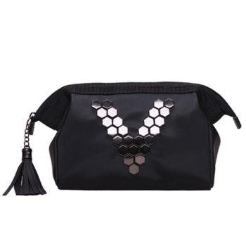 個性的なポーチ 黒いバッグ きらきらポーチ ブラシ収納 多用途ポーチ