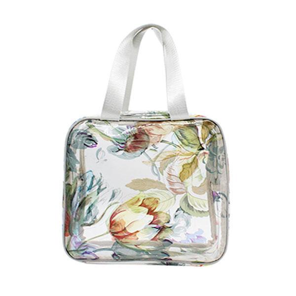 フラワーポーチ 綺麗な花柄 ビニールバッグ がま口 花びら付