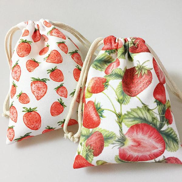 イチゴ柄 兒童リュックサック 巾着リュックサック 袋 収納バッグ 紐バッグ