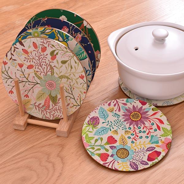 木製 花柄 丸い茶托 給食マット ティーマット