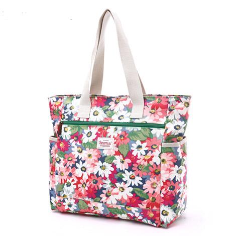 可愛い花柄  ハンドバッグ ファスナー付き トートバッグ手提げ 多機能バッグ オリジナルキャンバスバッグ